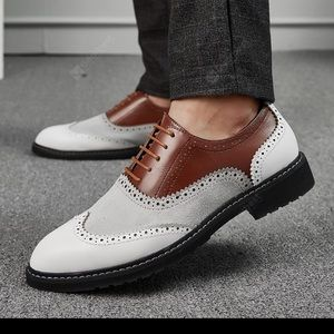 Retro British Wingtip Leather Brogue Lace up Shoes